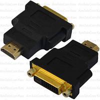 Переходник, гнездо DVI(24+1) - штекер HDMI, gold, пластик
