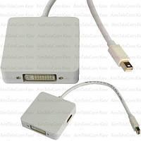 Переходник, штекер mini Display Port - Digi-Port: HDMI, DVI, Display Port  (3 в 1) 0,2м