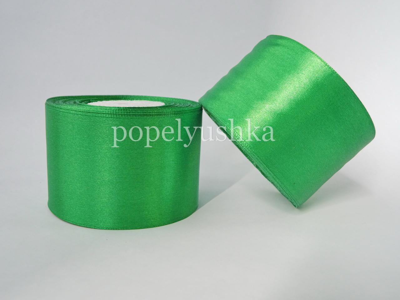 Стрічка атласна 5 см зелена