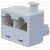 Компьютерный переходник, 1 штекер - 2 гнезда (8р8с), белый