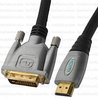 """Шнур HDMI COMP, штекер HDMI - штекер DVI, Hi-Fi, """"позолоченный"""", с фильтрами, 3м, в блистере"""