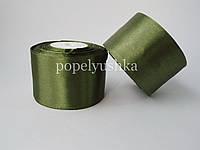 Стрічка атласна 5 см темно-зелена