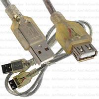 Удлиннитель USB, штекер A - гнездо А, Vers-2.0, Ø5мм, 0.8м, прозрачный