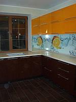 Кухня Оранжевая, Коричневая, Угловая, Глянец,в частный дом, скинали