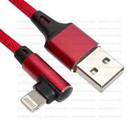 Шнур  штекер USB А - штекер iPhone 6 угловой, в сетке, 1м, красный