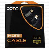 """Шнур HDMI COMP, штекер - штекер, Vers-1.3В, """"позолоченный"""", Ø8мм, фильтра + сетка, в коробке, 3м"""