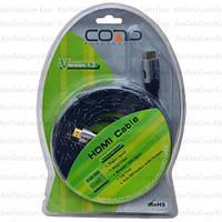 """Шнур HDMI COMP, штекер - штекер, Vers-1.3B, плоский, в оплётке, """"позолоченный"""", Ø7.3мм, в блистере, 3м"""