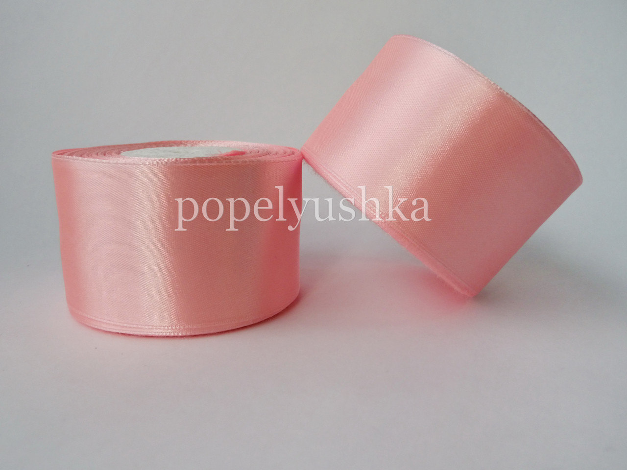 Стрічка атласна 5 см світло-рожева