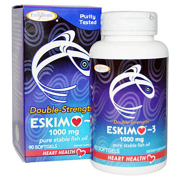 Enzymatic Therapy, Eskimo-3, двойная сила, 1000 мг, 90 капсул