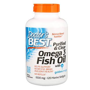 Doctors Best, Очищенный и прозрачный рыбий жир с Омега-3, 1000 мг, 120 морских мягких таблеток