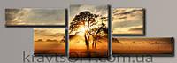 "Модульная картина на холсте из 5-ти частей ""Дерево на закате"" ( 49х151 см )"