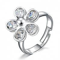 "Кольцо ""Girard"" покрытие серебро с кристаллами swarovski"