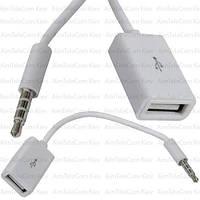 Шнур OTG, гнездо USB type A - штекер 3.5мм 4С, белый, 0.2м
