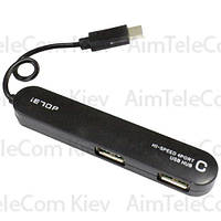 USB-Hub Type-C на 4 порта iETOP, USB2.0, черный