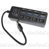 USB-Hub на 4 порта iETOP, USB3.0, с выключателями, черный