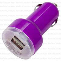 Автомобильная зарядка 2хUSB, 1A+2,1А, фиолетовая