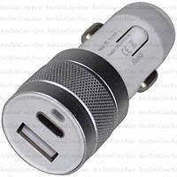 Автомобильная зарядка гнездо USB type C + гнездо USB, 3.1А