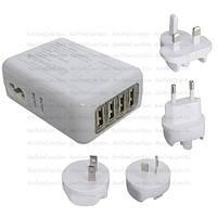 Сетевая зарядка  на 4 USВ с адаптерами EU/US/UK/AU, AC 220V/ DC 5V 2.1A, белая