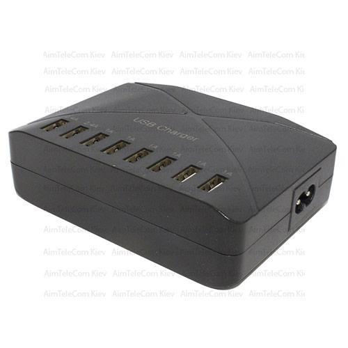 Мережева зарядка на 8 USВ, AC 220V/ DC 5V 2x2.4A + 6x1A, c кабель 1.5 м