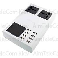 Сетевая зарядка, 8 гнезд USВ c дисплеями, AC 220V/DC 5V, 8.2A, c дисплеем, c кабелем 1.5м