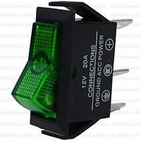Переключатель с подсветкой ASW-09D ON-OFF, 3pin, 12V, 20А, зелёный