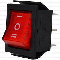 Переключатель широкий с подсветкой IRS-203-1C ON-OFF-ON, 6pin, 15A, 220V, красный