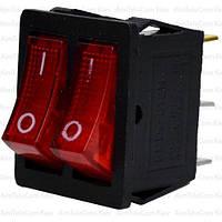 Переключатель двойной с подсветкой KCD4-011, ON-OFF, 6pin, 15A, 220V, красный