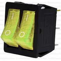 Переключатель двойной с подсветкой KCD4-011, ON-OFF, 6pin, 15A, 220V, жёлтый