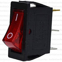 Переключатель узкий с подсветкой KCD-3, ON-OFF, 3pin, 16A, 220V, красный