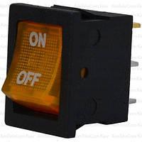 Переключатель с подсветкой MIRS-101-2 ON-OFF, 3pin, 6A, 220V, жёлтый
