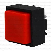 Кнопка квадратная PBS-18B без фиксации OFF-(ON), 25mА 50V или DC, красная