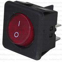 Переключатель с подсв., квадр.с круглой клавишей RK1-05, ON-OFF, 4pin, красный