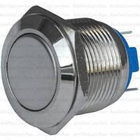 Кнопка антивандальная PBS-28B без фиксации OFF-ON 19мм, 2-х контактная, 220V, под пайку (плоская), OFF-ON