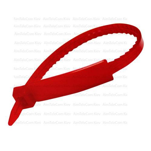 Стяжки с прямоугольной табличкой 175х5.5мм, красные, 50шт