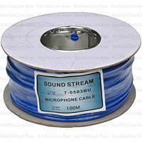 Кабель микрофонный Sound Star 2 жилы, 15×0.12мм, Cu, Ø4мм, синий, на катушке, 100м