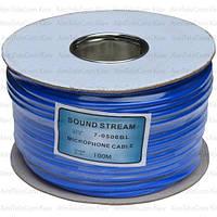 Кабель микрофонный Sound Stream 2 жилы, 25×0.12мм, Cu, Ø6мм, синий, на катушке, 100м