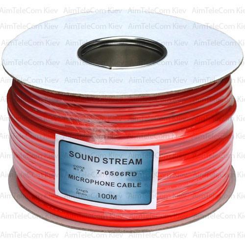Кабель мікрофонний Sound Stream 2 жили, 25×0.12 мм, Cu, О6мм, червоний, на котушці, 100м