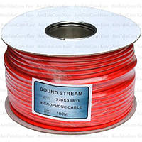 Кабель микрофонный Sound Stream 2 жилы, 25×0.12мм, Cu, Ø6мм, красный, на катушке, 100м