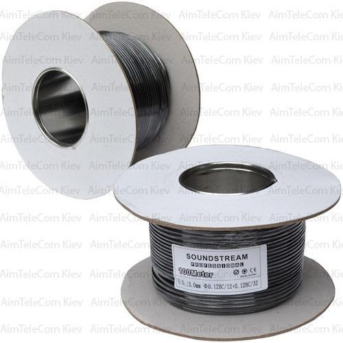 Кабель мікрофонний моно Sound 1 Stream жила, 12×0.12 мм, Cu, Ø3мм, чорний, 100м