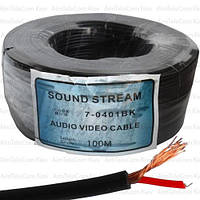 Кабель аудио-видео Sound Stream, 1 жила, в экране, круглый, 2.6мм², чёрный, 100м