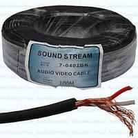 Кабель аудио-видео SoundStar, 2 жилы, в экране, круглый, 2.8мм², чёрный, 100м