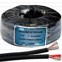 Кабель аудио-видео Sound Stream, 2 жилы, в экране, плоский, 2,8х5.6мм, чёрный, 100м