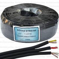 Кабель аудио-видео Sound Stream, 3 жилы, в экране, плоский, 2,6х7.8мм, чёрный, 100м