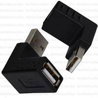 Переходник, штекер USB A - гнездо USB A, угловой