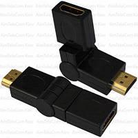 Переходник, штекер HDMI - гнездо HDMI, поворотный 360°, gold, пластик