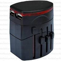 Переходник сетевой ЕМТ, универсальный + 2 USB выхода 100-240В (travel adapter)