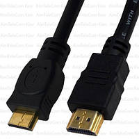 Шнур штекер HDMI - штекер miniHDMI, Ø6.0, gold, 1.5м, чёрный