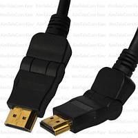 "Шнур HDMI, штекер HDMI - штекер HDMI, поворотный на 180°, ""позолоченный"", Ø6.0мм, 1.5м, чёрный"