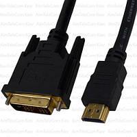Шнур штекер HDMI - штекер DVI, Ø7.3мм, gold, 1м, чёрный