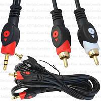 Шнур аудио-видео, штекер 3.5 стерео - 2 штекера RCA, gold, Ø4х8мм, 3м, чёрный